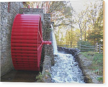 Water Powered Grist Mill Wheel Wood Print by John Small