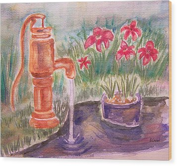 Water Pump Wood Print by Belinda Lawson