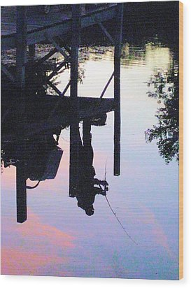 Water Reflection Of A Fisherman Wood Print by Judy Via-Wolff
