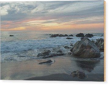 Water Washing Up On The Beach Wood Print by Keith Levit