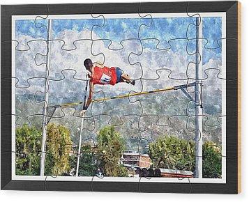 Watercoler Puzzle Design Of Pole Vault Jump Wood Print by John Vito Figorito