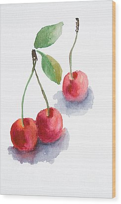 Watercolor Cherry  Wood Print
