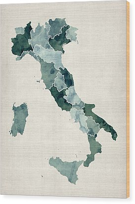 Watercolor Map Of Italy Wood Print by Michael Tompsett