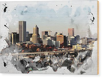 Watercolor Of Downtown Portland Wood Print by Cathie Tyler