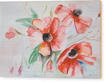 Watercolor Poppy Flower  Wood Print