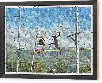Watercolor Puzzle Design Of Pole Vault Jump Wood Print by John Vito Figorito