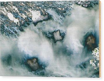 Waterfall 3 Wood Print by Valerie Wolf