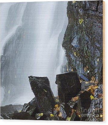 Waterfall In Auvergne Wood Print by Bernard Jaubert
