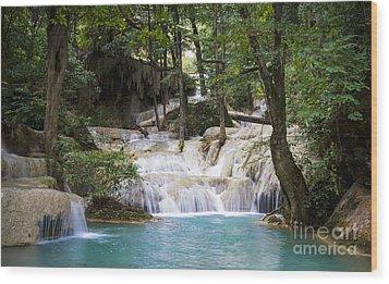 Waterfall In Deep Forest Wood Print by Setsiri Silapasuwanchai
