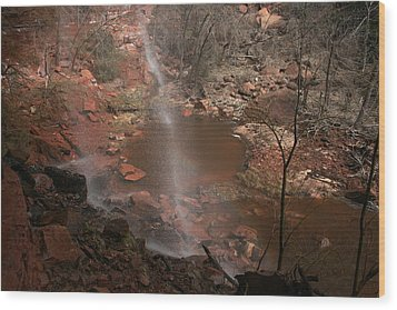 Waterfall In Zion Park Wood Print