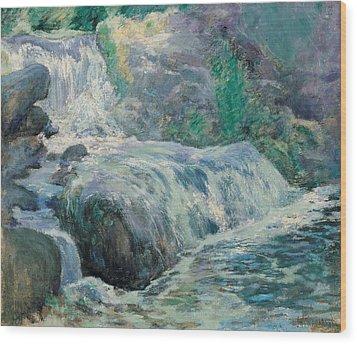 Waterfall Wood Print by John Henry Twachman