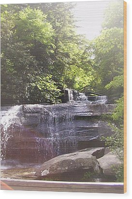 Waterfall Wood Print by Kelly Hazel