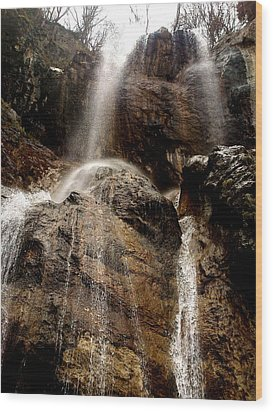 Waterfall Wood Print by Lucy D