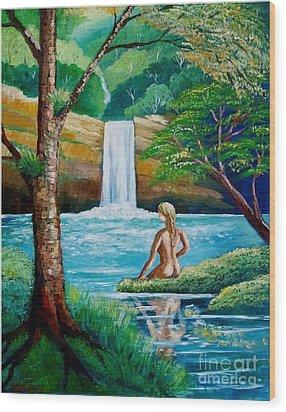 Waterfall Nymph Wood Print