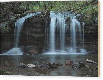 Waterfall On Flat Fork Wood Print by Daniel Reed