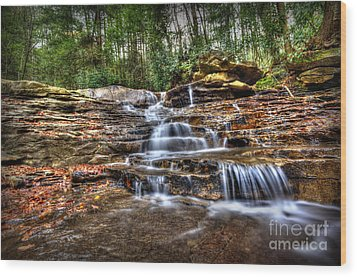 Waterfall On Small Creek Going Into The Big Sandy River Wood Print by Dan Friend