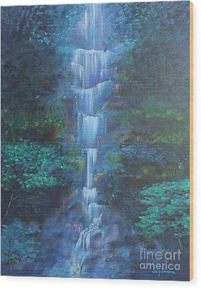 Wood Print featuring the painting Waterfall Symphony by Stacey Zimmerman