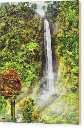 Waterfall Wood Print by Vidka Art