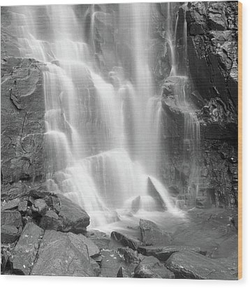 Waterfalls At Chimney Rock State Park Wood Print by Holden Richards