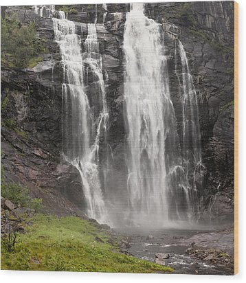 Waterfalls Over A Cliff Norway Wood Print by Keith Levit