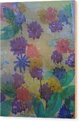 Wood Print featuring the painting Waterflowers by Judi Goodwin