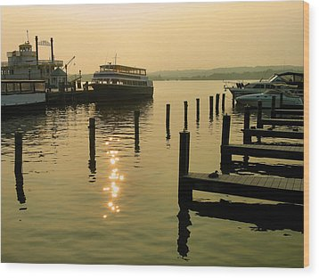 Waterfront Docks Wood Print by Steven Ainsworth