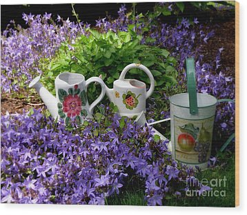 Wood Print featuring the photograph Watering Cans And Campanula by Tanya  Searcy