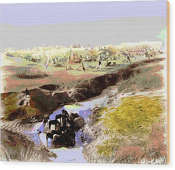 Watering The Horses Wood Print by Charles Shoup
