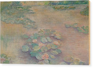 Waterlilies At Dusk Wood Print by Rita Bentley