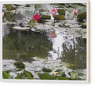 Wood Print featuring the digital art Waterlilies by Victoria Harrington