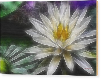 Waterlily In Pseudo-fractal Wood Print by Lynne Jenkins