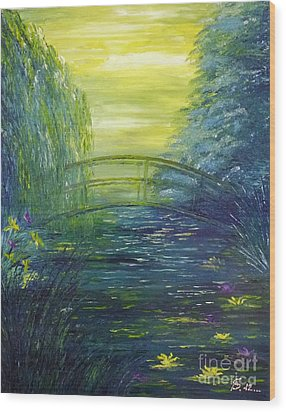 Waterlily Pond  Wood Print by AmaS Art