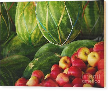 Watermellons And Apples Wood Print by Elaine Manley