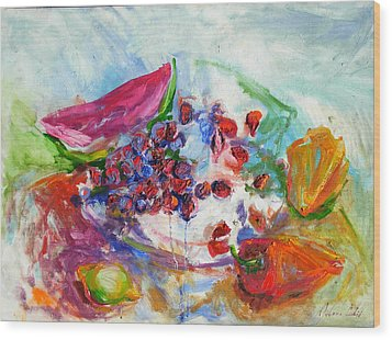 Watermelon And Pepper Wood Print by Jelena Cholic