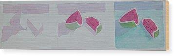 Watermelon Study Wood Print by Charlotte Hickcox