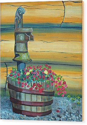 Waterpump And Petunias Wood Print by Amy Reisland-Speer