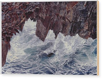 Water's Fury Wood Print by Patricia Hiltz