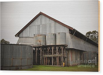 Watertanks And Shed Wood Print by Therese Alcorn