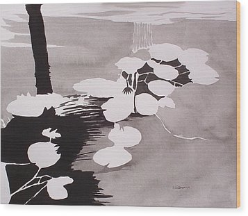 Wood Print featuring the painting Watrer Lillies by Richard Willows