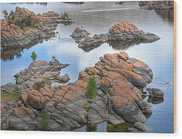 Watson Lake Wood Print by Michael Biggs
