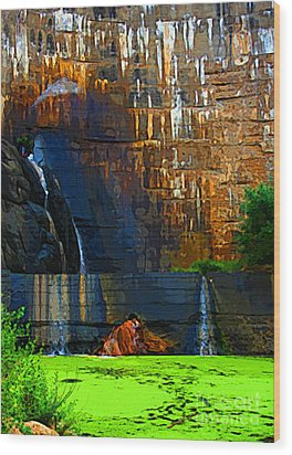 Watson Lake Waterfall Wood Print by Julie Lueders