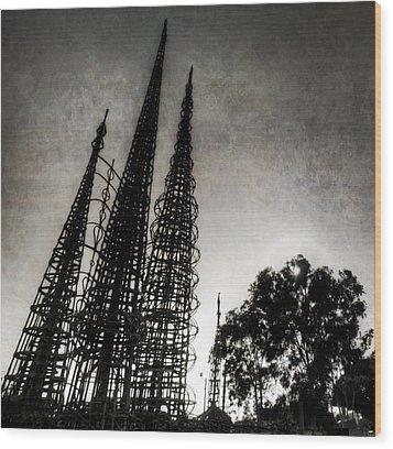 Watts Towers Wood Print by Natasha Bishop