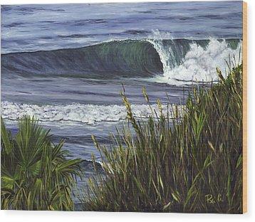 Wave 4 Wood Print by Lisa Reinhardt