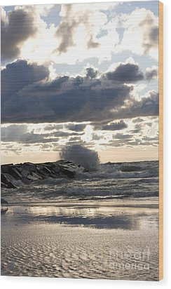 Wave Crashing Into Jetty On Lake Michigan Wood Print by Christopher Purcell