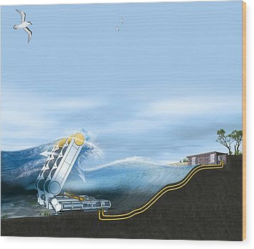 Wave Energy Converter, Artwork Wood Print by Claus Lunau