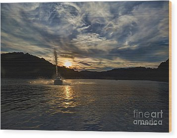 Wave Runner On Lake Evening Wood Print by Dan Friend