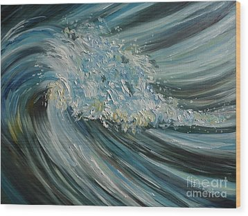 Wood Print featuring the painting Wave Whirl by Julie Brugh Riffey