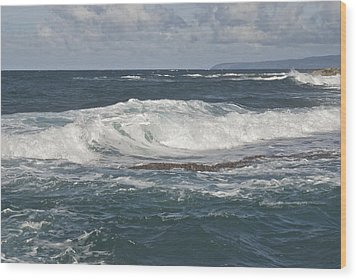 Waves Breaking 7952 Wood Print by Michael Peychich