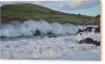 Waves In Dingle Wood Print by Barbara Walsh