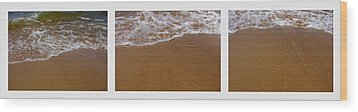 Waves Triptych Wood Print by Michelle Calkins